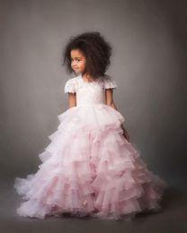Cute Puffy Wedding Dresses Australia - Flower Girl Dress Cute Puffy Pink Bridesmaid Formal Wedding Girl Dress 2018