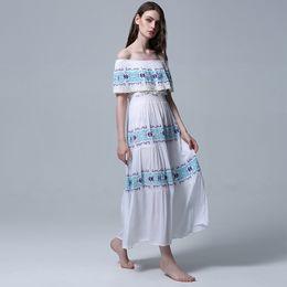 59e3b895a8f Best Bohemian  Off The Shoulder Dress 2019 New Summer Sexy Embroidered  Bodice Boho Maxi Beach Resort Casual White Elegant Women Dresses