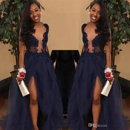 Navy Blue Sheer Neck Split Prom Dress Deep V- Neck Long Lace Appliques Formal Pageant Holidays Wear Graduation Evening Party Gown