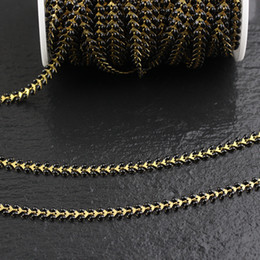 fishbone chain UK - 6mm,Black Enamel Chevron Chokers Chains Jewelry Carfts,Fashion Brass Links Fishbone Beading Necklace