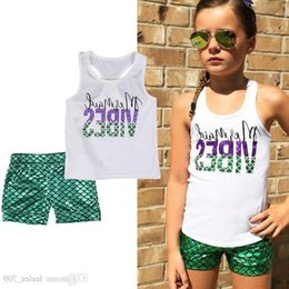 Wholesale Kids Baby Girl Lletter Print Mermaid Top Vest Green Shorts Pants Girls Kid Clothes Outfits Summer Kids Clothing