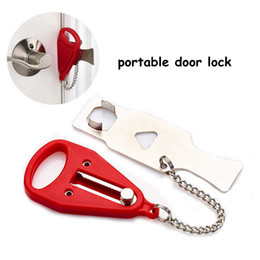 Portable Security Door Lock Travel Safety Lock Stainless Chian Guard Hotel Door Stopper Home Anti-theft Lock Room Latches CCA11797-A 15pcs on Sale