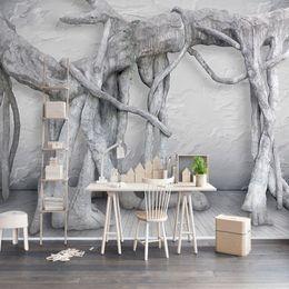 $enCountryForm.capitalKeyWord NZ - Custom Wall Mural Wallpaper Modern Simple 3D Art Black And White Forest Tree Living Room TV Background Decor Wallpaper Painting