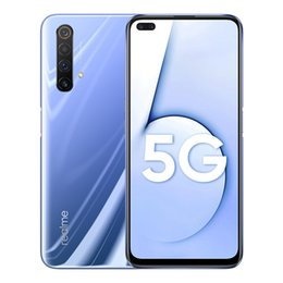 "Wholesale Original Realme X50 5G Mobile Phone 8GB RAM 128GB ROM Snapdragon 765G Octa Core 64MP OTA Android 6.57"" Full Screen Fingerprint ID Cell Phone"