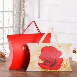 $enCountryForm.capitalKeyWord Australia - Large Rose pattern Handbag Kraft Paper Pillow Style Bag Handkerchief Silk Scarf Packing Boxes Gift Wrap Bag
