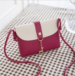 Color Leather Bags Australia - 2019 NEW Fashion Phone Bags PU Leather Two-tone Color Deer Pendant Shoulder Bags for girl Travel Bag Free shipping