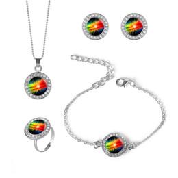 Rhinestone Jewelry Sets Designs Australia - 1 Set Fashion Rhinestone Necklace Earrings Bracelet Ring Set With Galaxy Glass Dome New Design Jewelry