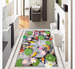 Pond Wall Stickers Australia - customized 3D self-adhesive floor painting wall paper HD cobblestone goldfish pond 3D stereo bathroom waterproof floor painting stickers