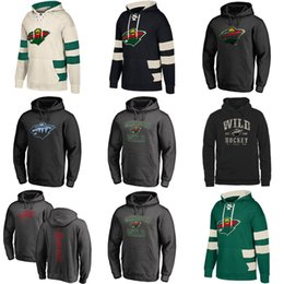 Ice Tops Australia - Hot Sale Custom Mens Womens Kids Minnesota Wild Cheap Top Quality Embroidery Beige Black Green Ice Hockey Hoodies with Any Name&Any No.