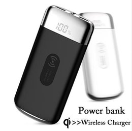 Cable Building NZ - 10000mah Power Bank External Battery Bank Built-in Wireless Charger Powerbank Portable QI Wireless Charger for iPhone XS Max 8