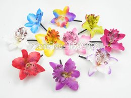 head flower hair clip accessories UK - 10pcs lot Vacation Thailand Flowers Cattleya Orchid Hair Clips Head Accessories for Women Hairpins Festival Hawaiian Headwear