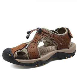 Discount casual shoe brands for men - Big Size Genuine Leather Men Sandals New Summer Men Shoes Beach Sandals for Man Fashion Brand Outdoor Casual Sneakers