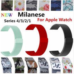 Vente en gros Bracelet milanais pour montre Apple 42mm 38mm lien bracelet dragonne Boucle réglable magnétique avec adaptateur pour série Iwatch 4 3 2 1