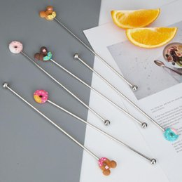 Discount cocktail animals - 100pcs Stainless steel cartoon animal donut cocktail Swizzle Sticks coffee milk tea drink stir bar blender party gift DH