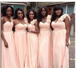$enCountryForm.capitalKeyWord Australia - Fashion Coral African Cheap bridesmaid Dress One shoulder Handmade Flowers Chiffon Plus size cheap Bridesmaid Prom Evening Party Dresses