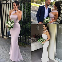 Wholesale 2020 New Arrival Mermaid Bridesmaid Dresses For Weddings Satin One Shoulder Sleeveless Floor Length Plus Size Formal Maid of Honor Gowns