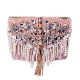 2c6ce16172 Moda lusso bling diamanti messenger pochette donna YH081 rosa catena nappe  cena borsa femminile perle sera borsa
