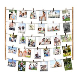 collage photos frames Canada - Wood photo frame wall decoration Beautifully decorated multi-function photo 26×29 inch with 30 clip collage art prints #4M31