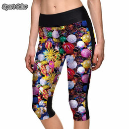 Discount hot girls yoga pants - New Hot High Waist Women Mid-Calf Leggings Sexy Girl Fitness Yoga Cropped Trousers Elastic Christmas Design Breathable C