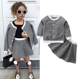 girls red coat set Canada - 1-6Y Infant Kids Baby Girl Clothes Sets Formal Party Birthday Winter Outfits Plaid Coat Tops+A Line Skirts Gifts T200526