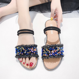 $enCountryForm.capitalKeyWord UK - Women's slippers 2019 summer new fashion sequins open toe slippers women's two-piece foot ring strap sandals