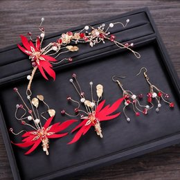 $enCountryForm.capitalKeyWord NZ - Ladies Dragonfly Hair Accessories Set Bride Wedding Beauty Headband Earrings Women Chinese Style Red Flower Hair Jewelry Set