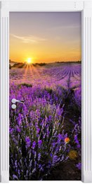 Lavender Wall Stickers Australia - Free Shipping DIY Door Sticker Sunset Lavender Field Door Decals Decorations For Bedroom Living Room Wallpapers Decal Home Accessories