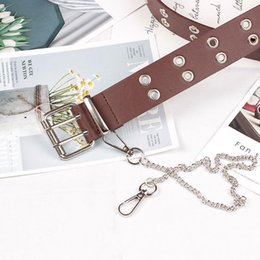 brown faux leather belt UK - Free Shipping Lady Double Exhaust Eye Chain Belt Artificial Leather Fashion Trend Pin Buckle Punk Hip Hop Style Belt Buckle Belts for Women