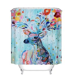 curtain painting UK - Bathroom Decor Sika deer oil painting Art Pattern Curtains Wall Decorative Screen - Waterproof, Soap, and Mildew resistant