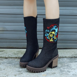 $enCountryForm.capitalKeyWord Australia - Glittery2019 Popular2019 Cowboy Shoes Embroidered Cloth In Side Zipper Coarse With Woman Boots