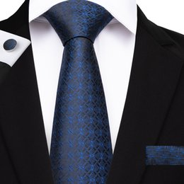 $enCountryForm.capitalKeyWord NZ - Hi-Tie New Geometric Pattern Tie Set Silk Blue Plaid Silk Hankychief Cufflinks Set for Mens Wedding Business Suit N-7158