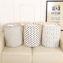 Modern toy storage online shopping - Brief Dirty Clothes Basket Waterproof Folding Laundry Basket Cotton Toys for Kids Room Star Dot Print Storage Bucket