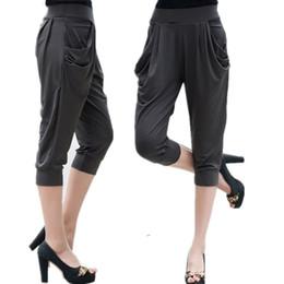 1995f2393f960 Large Size 5xl 6xl 7xl 8xl Calf Length Pants Summer Womens Soft Milk Silk Stretch  Pants Plus Size Harem Trousers Capri Female Q190430