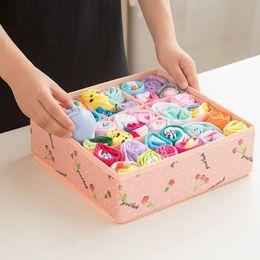 Linen Boxes Storage Australia - Underwear Storage Box Cotton And Linen Drawer Double Cloth Bra Socks Home Finishing Box Organizer Storage Boxes