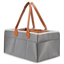 Tote Bags Compartments Canada - Portable Felt Tote Storage Bin Baby Diaper Organizer Adjustable Compartments Diaper Bags Portable Multi-pocket Diapering Bag