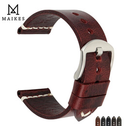 $enCountryForm.capitalKeyWord Australia - Maikes Genuine Cow Leather Watch Strap Handmade Watchbands Vintage Red Wristband For Panerai 20mm 22mm 24mm Watch Band T190620