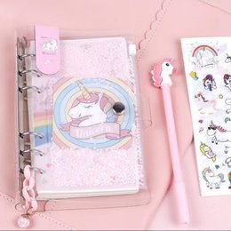 Notepad Girl Gift Australia - Kawaii A5 A6 Unicorn Sketchbook Notebook School Girls Spiral Journal Diary Book To-Do It Blank Papers Kids Birthday Gift Set