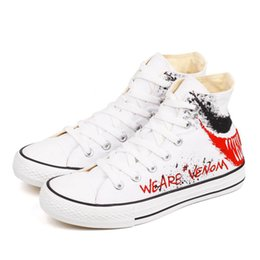 $enCountryForm.capitalKeyWord Australia - 2019 movie venom hand-painted casual shoes for men's fashion painted graffiti high-top couple shoes flat skateboard shoes with box