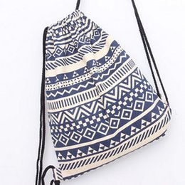 $enCountryForm.capitalKeyWord UK - Wholesale- Sackpack Striped Wave Printing Backpack Canvas Women's Backpack Bohemia Drawstring Bag Causal Girl Travel Bag