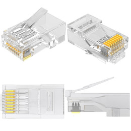 fiber optics cable connectors Australia - Cat5 RJ45 Connector Cat5E 8P8C Modular Ethernet Cable Head Plug Gold-plated Cat 5 Crimp Network RJ 45 Connector