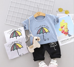 f3c086b6c Little Kids Sets 1-3T Childrens O-neck T-shirt Short Pants 2Pcs sets Boys  Girls Pure Cotton Small Logo Children Summer Sets hf60301