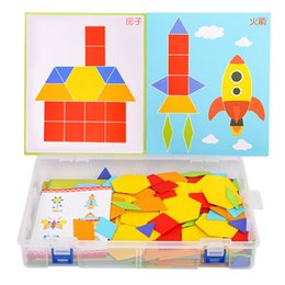 colorful puzzles Australia - 170 Pcs set Colorful Wooden Tangram Puzzle Toys Geometric Shape Game Funny Creativity Jigsaw Baby Kids Preschool Educational Toy Q190530