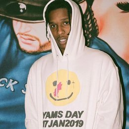 asap rocky sweatshirts hoodies NZ - 19FW Asap Rocky Joint Yellow Round Face Letter Printed Hooded Sweatshirt Classic Simple Pullover Street Sweater Hoodies Outwear HFHLWY077