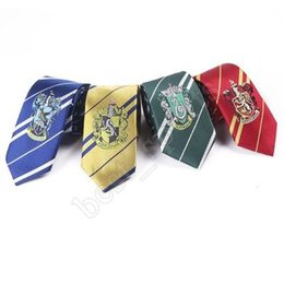 harry potter tie ravenclaw Canada - Harry Potter Neck Ties Gryffindor Slytherin Ravenclaw Hufflepuff Badge stripe Ties Harry Potter Badge Adult Tie Party Favor ZZA1404