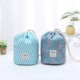 $enCountryForm.capitalKeyWord Australia - Korean elegant large capacity Barrel Shaped Nylon Wash Organizer Travel Dresser Pouch Cosmetic Makeup Storage Bag For Women