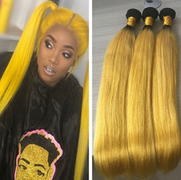 $enCountryForm.capitalKeyWord Australia - 9A Cheap Brazilian Ombre Yellow Hair Bundles Straight Style Unprocessed Light Yellow Human Hair Weave Wefts Extensions