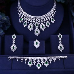 bridal jewelry ring set Australia - Green Blue Black Red cubic zirconia necklace drop earrings bracelet and ring 4pcs dubai wedding Bridal full jewelry set