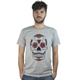 b77b2624e T-shirt Mexican Skull with flowers, T-shirt grey style Tattoo Rock Tees  Custom Jersey t shirt