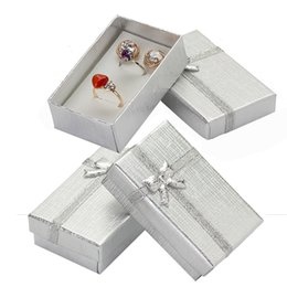 Wholesale Boxes Packaging Australia - 32pcs Cardboard Jewelry Boxes 1.9''x3.1'' Silver Gift Boxes for Pendent Necklace Earrings Ring Box Packaging with White Sponge C19010501