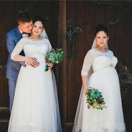 white pregnant wedding dresses Australia - Vintage Lace Empire Wedding Dresses For Pregnant Woman Half Sleeves Sheer Neck Ivory Plus Size Maternity Bridal Gowns Plus Size